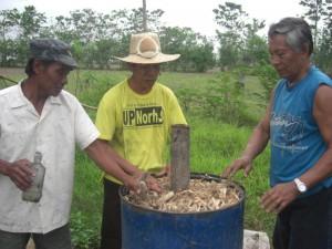 Making corncob charcoal