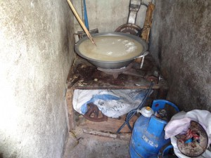 Making Rice-Paste in Boiled Water at Home