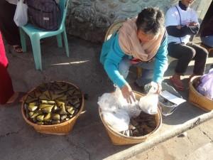 Selling Patu Patu (Rice Cakes) at the Bus Terminal