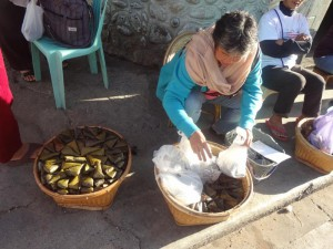 Selling Patu Patu (Rice Cakes) at the Bus Terminal