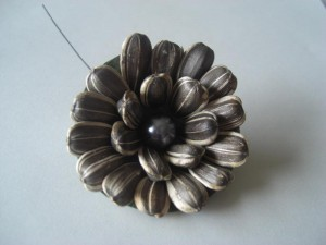This flower is made of sunflower seeds.