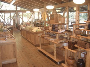 Souvenir Shop made of Thinned-out Timber