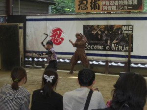 <Ninja Show: They are showing Ninja martial arts.>