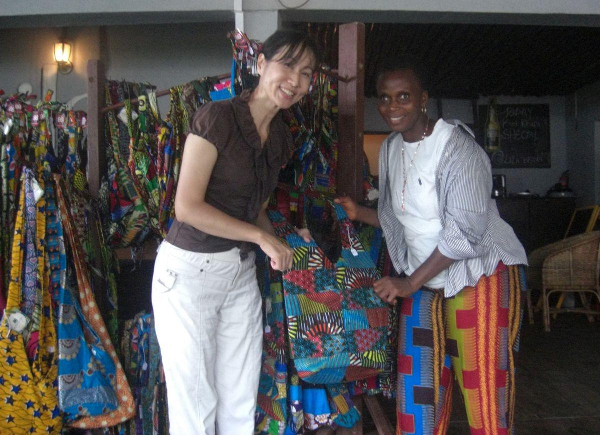 Bosh Bosh sales event in a restaurant in Monrovia, Liberia (Sis Yamah, Representative of Bosh Bosh Liberia on the right)